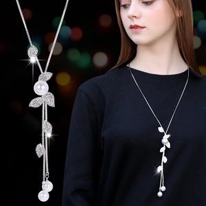 Pearl Leaf Silver Plated Dangle Necklace